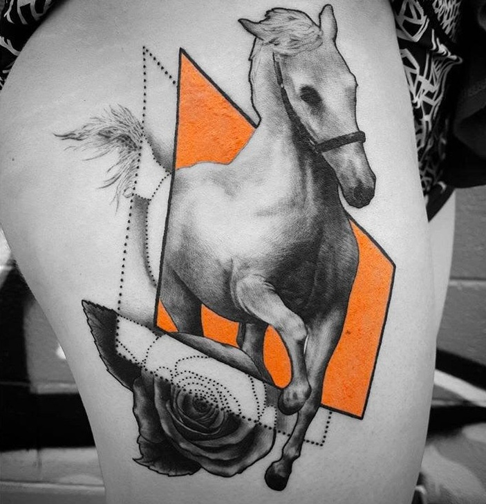 Custom Black and Grey White Horse with Orange Accents Tattoo by Alix At Certified Tattoo Studios Denver Co.jpg