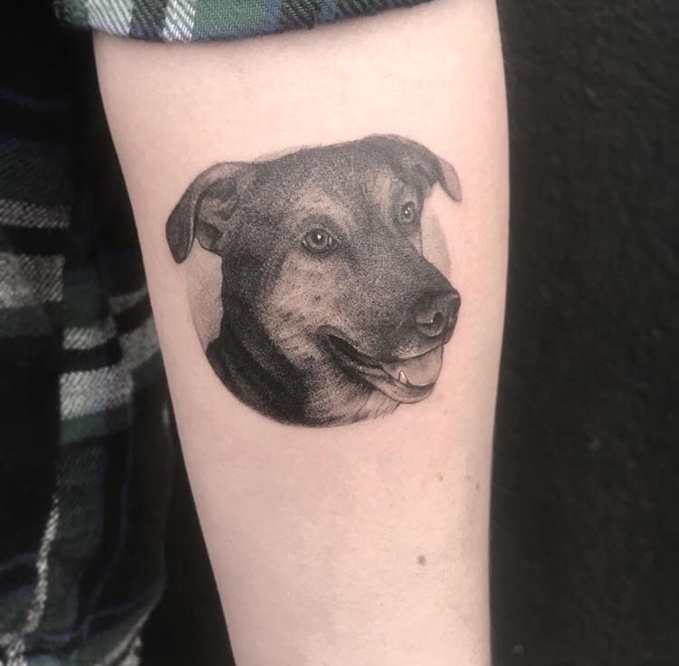 Custom Black Stipple Dog Portrait Tattoo by OG Slowdeath at Certified Tattoo Studios Denver CO.jpg