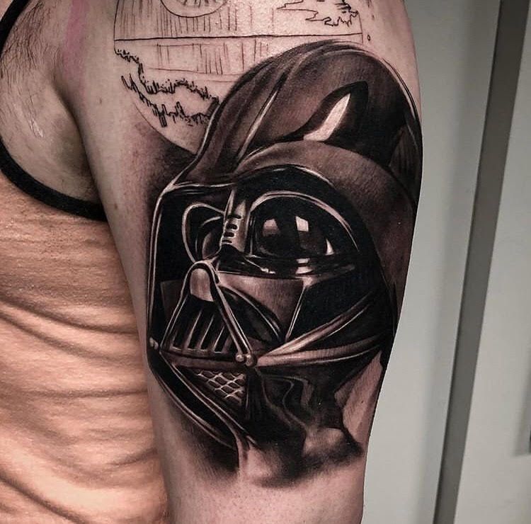 Custom Black and Grey Darth Vader Head Star Wars Tattoo by Bryan at Certified Tattoo Studios Denver Co.jpg