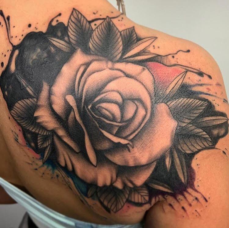 Custom Black and Grey Watercolor Rose Tattoo by Darious at Certified Tattoo Studios Denver Co.jpg