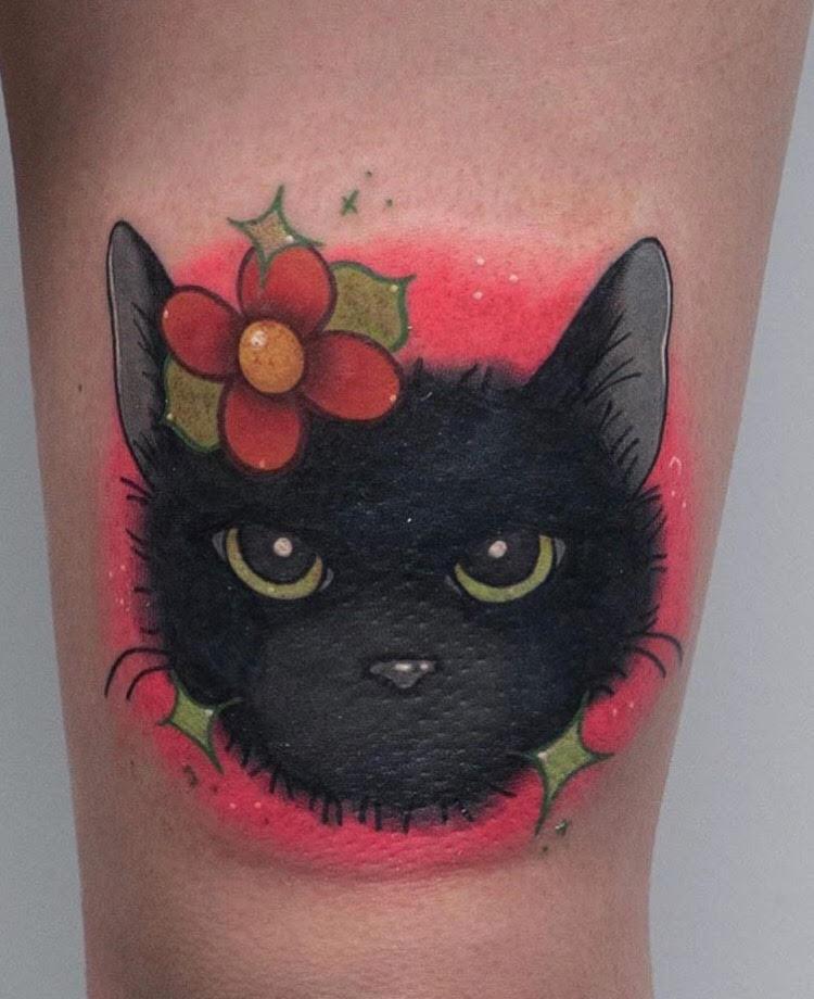 Custom Full Color Pet Black Cat Portrait Tattoo by Hannah Espinoza at Certified Tattoo Studios Denver Co.jpg