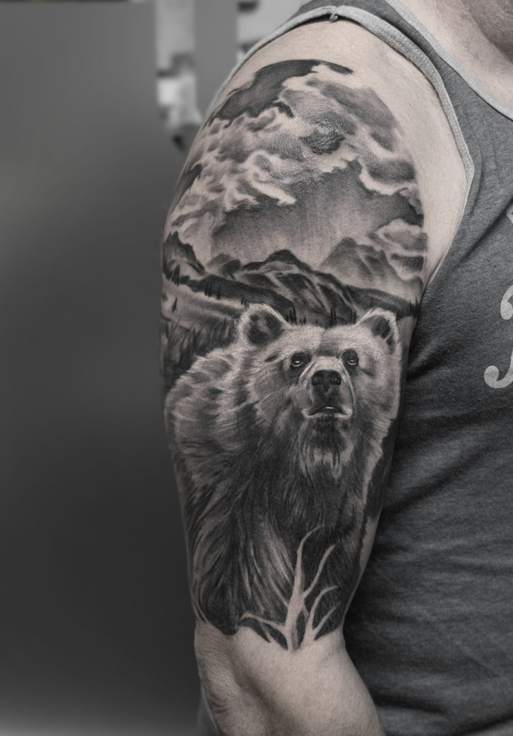 Custom Black and Gray Realism Grizzley Bear Tattoo by Greg at Certified Tattoo Studios Denver Co.jpg