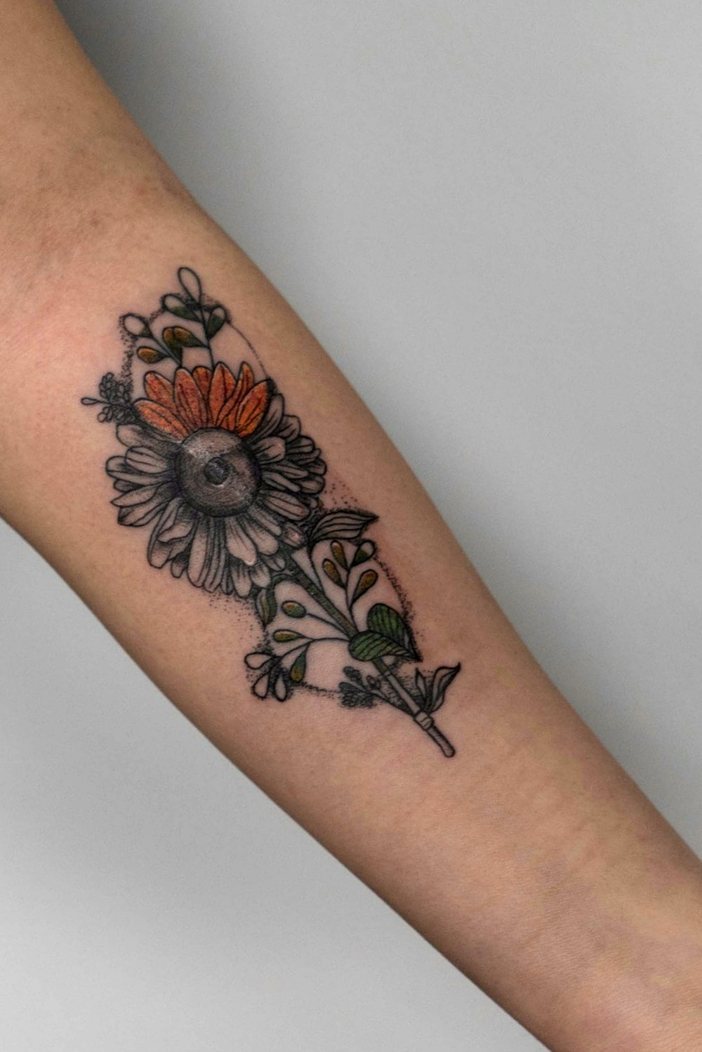 Custom Sunflower Tattoo with color accents by Danielle at Certified Tattoo Studios Denver Co.jpg