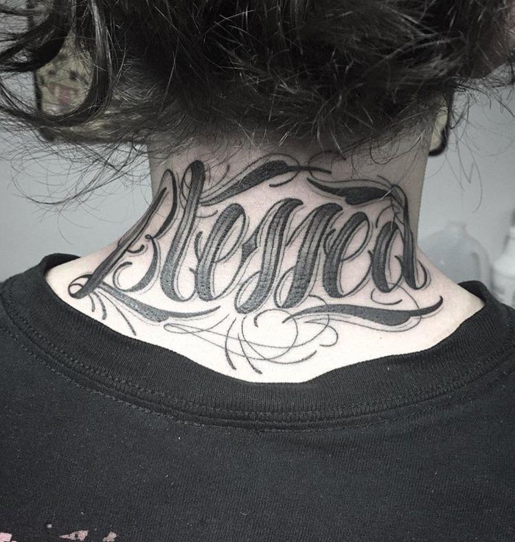 Custom Blessed Script Tattoo by Spencer Reisbeck at Certified Tattoo Studios Denver Co.JPG