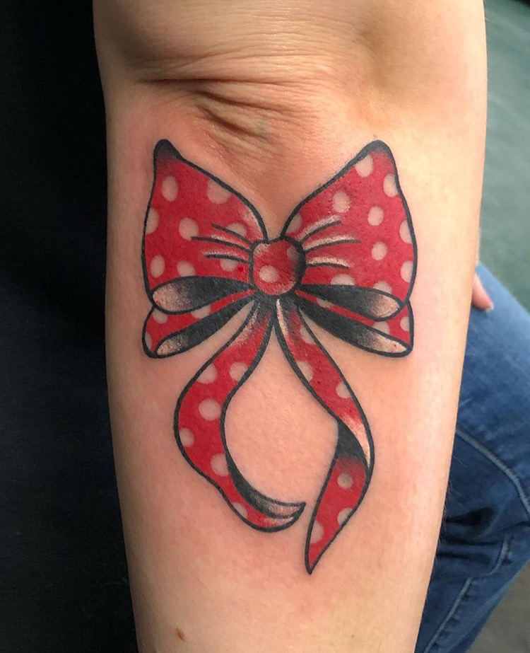 Custom Minnie Mouse Red Bow Tattoo by Spencer Reisbeck at Certified Tattoo Studios Denver Co.JPG