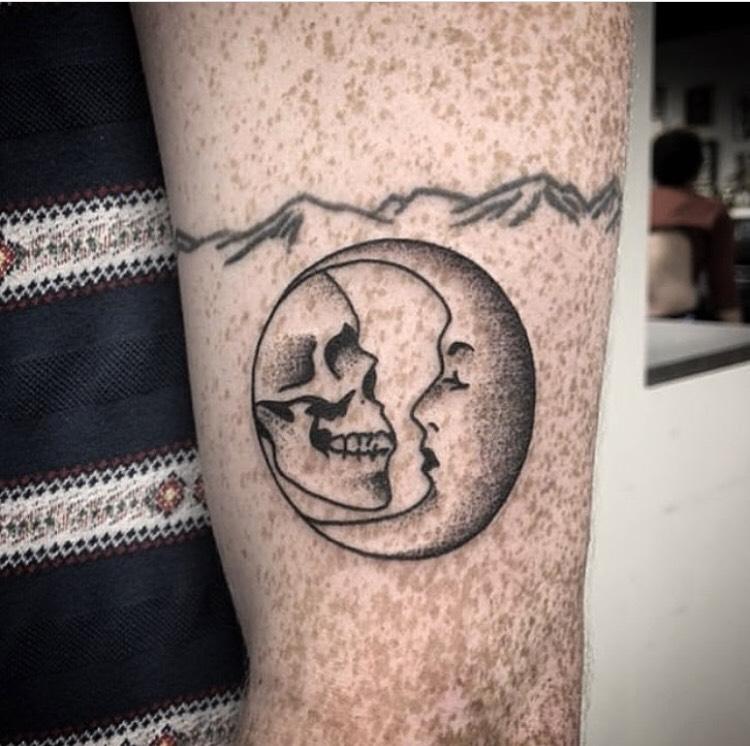 Custom Skull and Cresent Moon Dot Work Tattoo by Spencer Reisbeck at Certified Tattoo Studios Denver Co.jpg