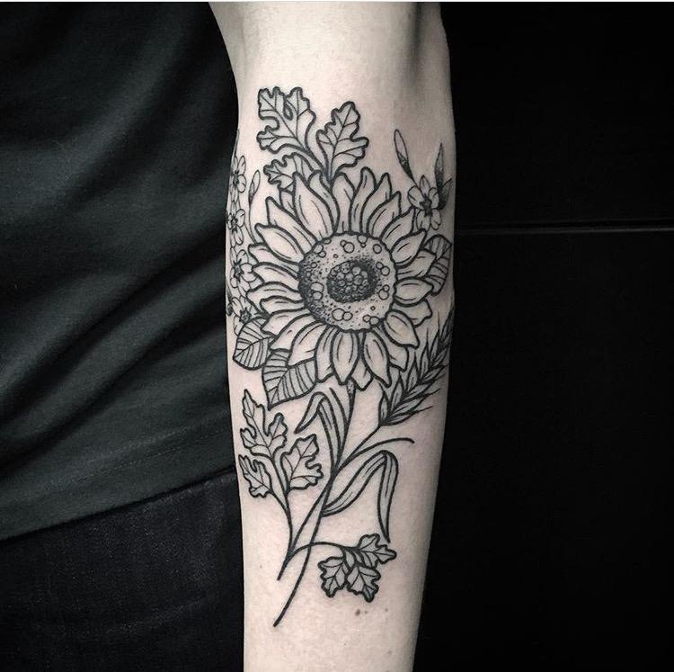 Custom Sunflower and Leaves Tattoo by Spencer Reisbeck at Certified Tattoo Studios Denver Co.JPG