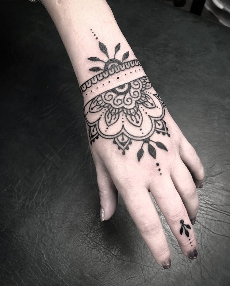 Custom Henna Inspired Hand Tattoo by Spencer Reisbeck at Certified Tattoo Studios Denver Co.JPG