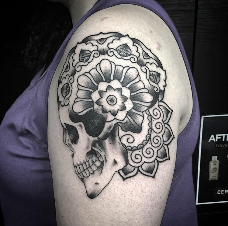 Custom Mandla Style Skull Tattoo by Spencer Reisbeck at Certified Tattoo Studios Denver Co.JPG