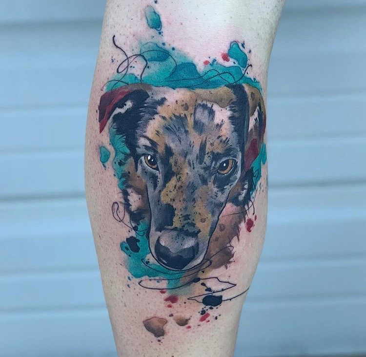 Custom Water Color Pet Dog Portrait Tattoo by Skyler Espinoza at Certified Tattoo Studios Denver CO.JPG