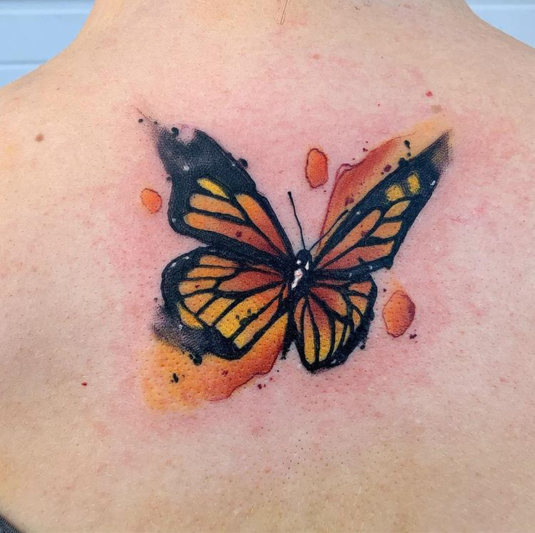 Custom Water Color Monarch Butterfly Tattoo by Skyler Espinoza at Certified Tattoo Studios Denver Co.JPG