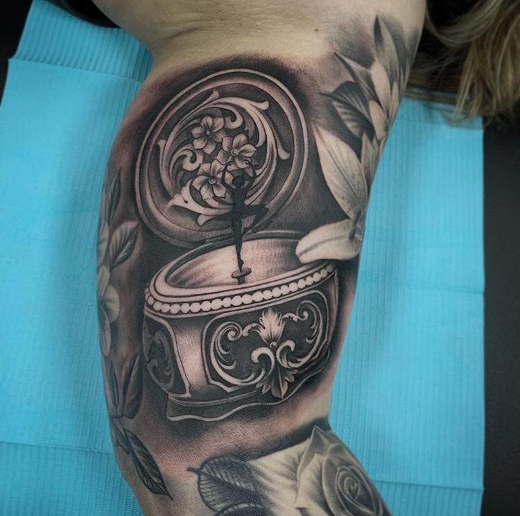 Custom Black and Grey Jewlery Box with Ballerina Tattoo by Salvador Diaz  at Certified Tattoo Studios Denver CO.jpeg