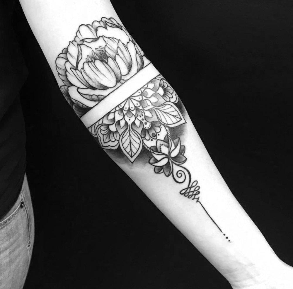 Custom Dotwork Mandala Tattoo by Ashley Shafer at Certified Tattoo Studios Denver CO.jpg