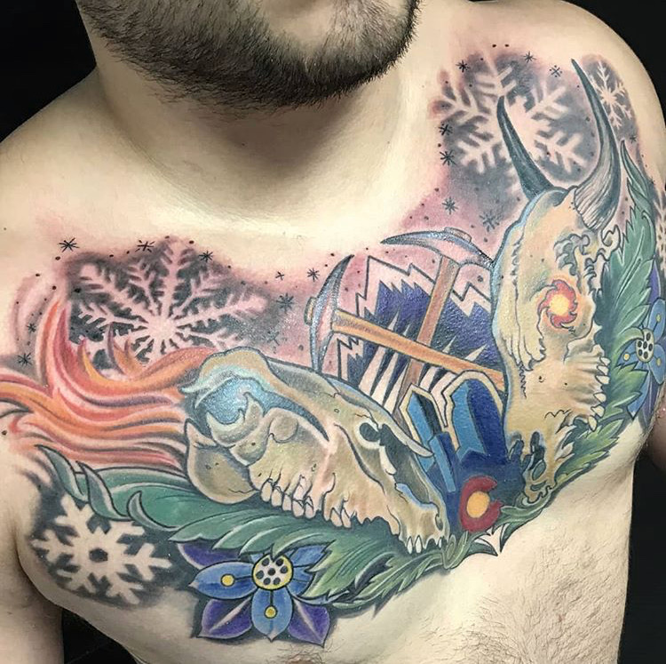 Custom Full Color Colorado Inspired Tattoo by Miachel Myers at Certified Tattoo Studios Denver CO.JPG