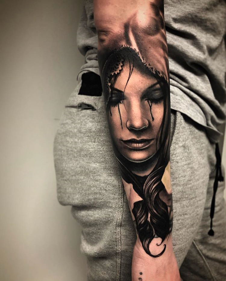 Custom Black and Grey Crying Woman Portrait Tattoo by Bryan Alfafo at Certified Tattoo Studios Denver CO .JPG