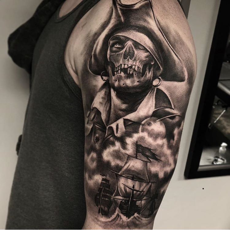 Custom Black and Grey Skeleton Pirate and Ship Tattoo by Bryan at Certified Tattoo Studios Denver CO.JPG