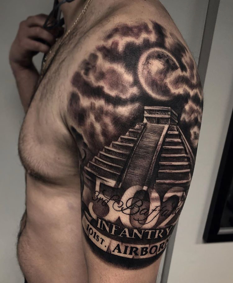 Custom Black and Grey Temple and Sun with Lettering Tattoo by Bryan Alfaro at Certified Tattoo Studios Denver CO.JPG