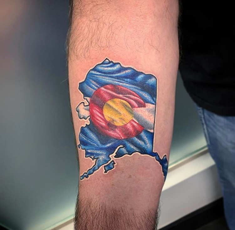 Custom Full Color Alaska State with Colorado Emblem Tattoo by Darious at Certified Tattoo Studios Denver CO .JPG