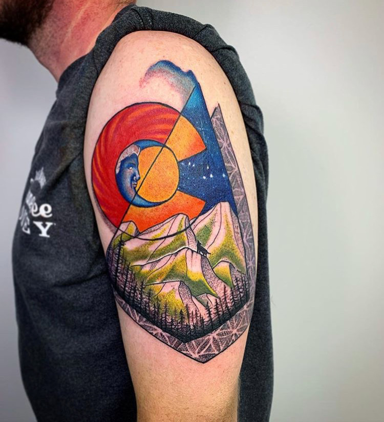 Custom Full Color Geometric Colorado Emblem and Mountain Scene Tattoo by Darious Malone at Certified Tattoo Studios Denver Co  .JPG