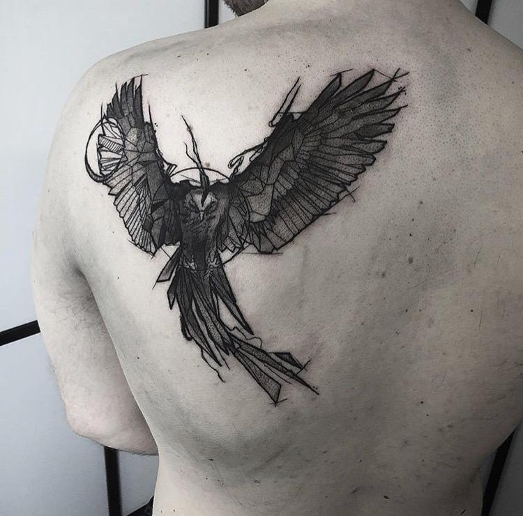 Custom Geometric Pheonix Tattoo by Gabriel Mondragon at Certified Tattoo Studios Denver Co (5).JPG