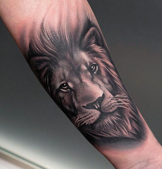 Custom Black and Grey Male Lion Portrait Tattoo by Jean Yepes at Certified Tattoo Studios Denver Co.JPG