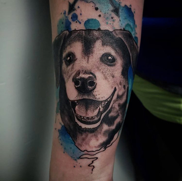 Custom Water Color Smiling Pet Dog Portrait Tattoo by Jeff Terell At Certified Tattoo Studios Denver Co  (9).JPG