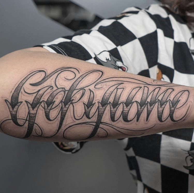 Custom Name Script  Tattoo by Meikel Castellon at Certified Tattoo Studios Denver Co   (7).JPG