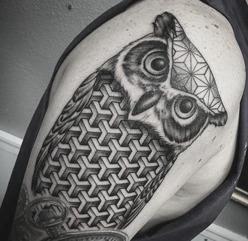 Geometric Owl Tattoo by Jon Hanna at Certified Tattoo Studios.jpg
