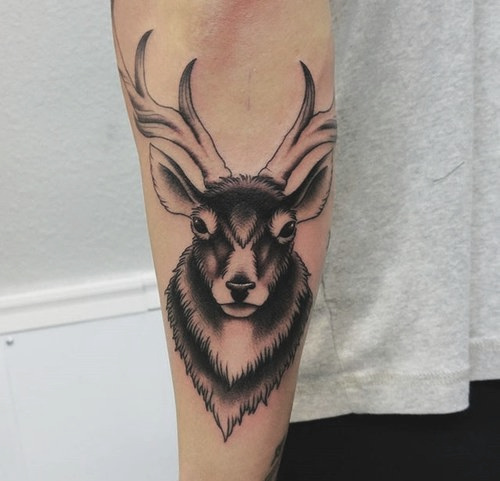 Black and Gray Realism Deer Tattoo by Jon Hanna at Certified Tattoo Studios.jpg