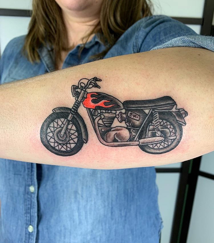 Custom Motorcycle with flames Tattoo by Jorden  Spencer at Certified Tattoo Studios Denver CO  (4).JPG