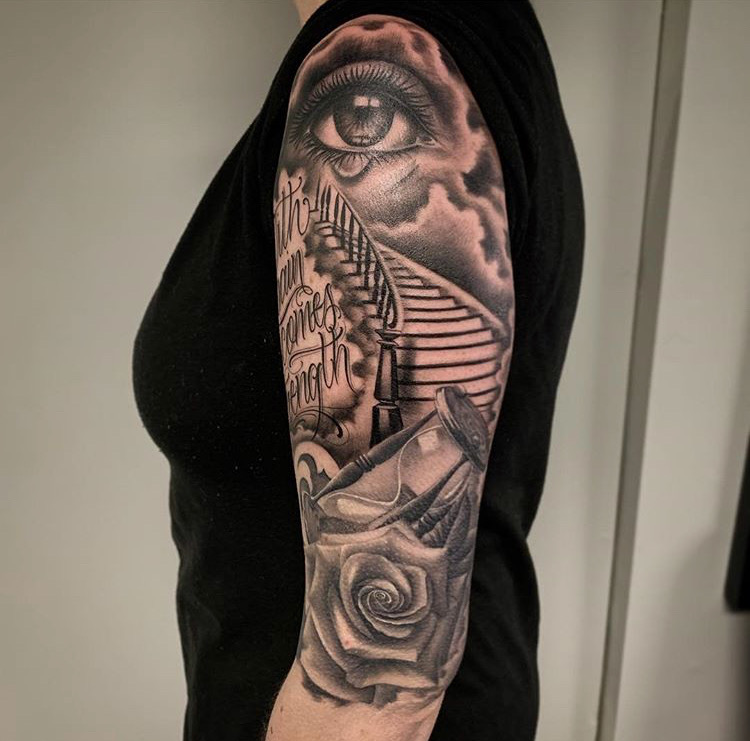 Custom Black and Grey Stairway to Heaven with Crying Eye and Hourglass Tattoo by Salvador Diaz at Certified Tattoo Denver CO.JPG