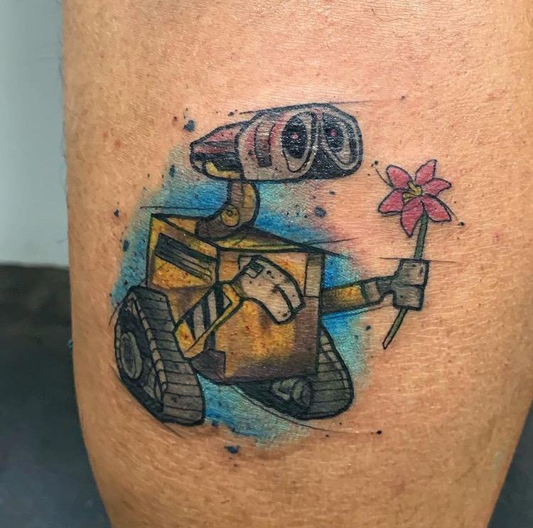 Custom Water Color Disney Wall-E Tattoo by Skyler Espinoza at Certified Tattoo Studios Denver Co.JPG