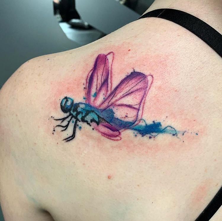 Custom Water Color Dragonfly Tattoo by Skyler Espinoza at Certified Tattoo Studios Denver Co.JPG