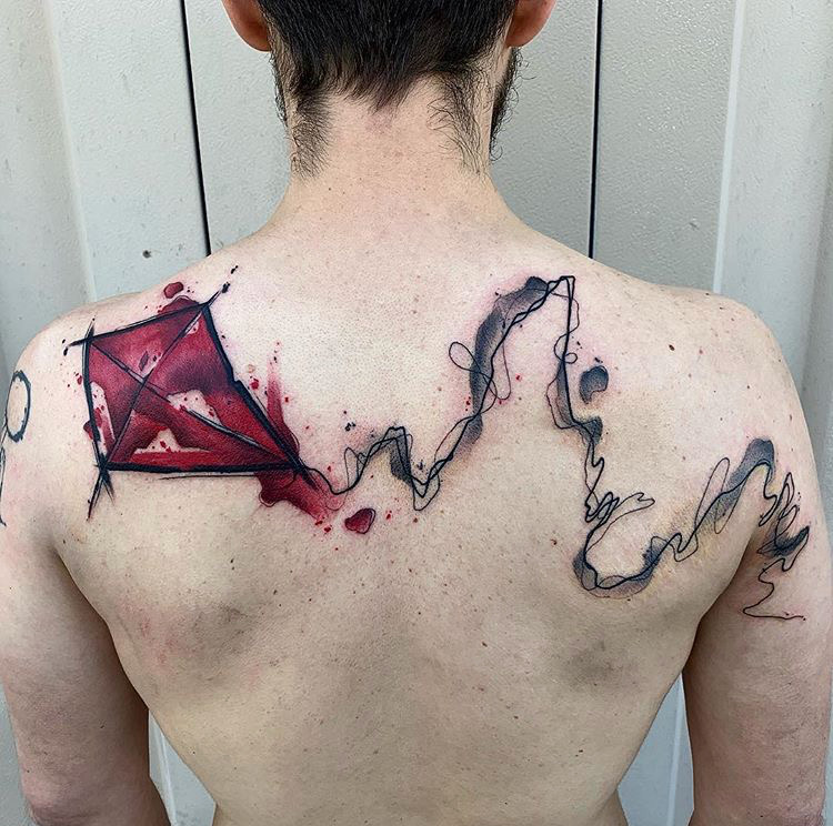 Custom Water Color Kite Tattoo by Skyler Espinoza at Certified Tattoo Studios Denver Co.JPG
