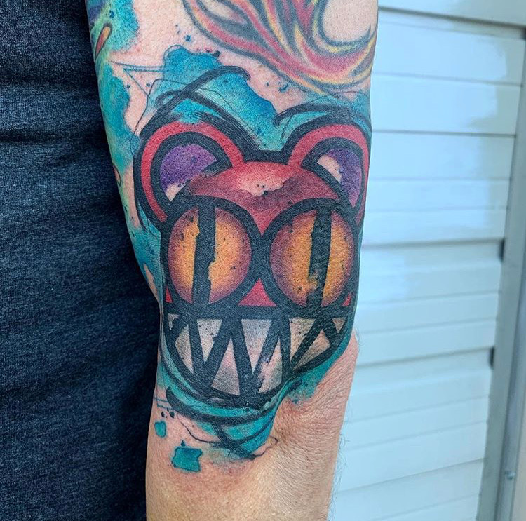 Custom Water Color Radio Head Tattoo by  SKyler Espinoza at Certified Tattoo Studios Denver Co.JPG