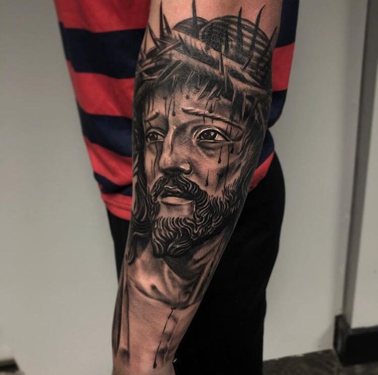 Custom Black and Grey Jesus Christ Portrait Tattoo by Ramon Marquez at Certified Tattoo Studios Denver Co.jpeg