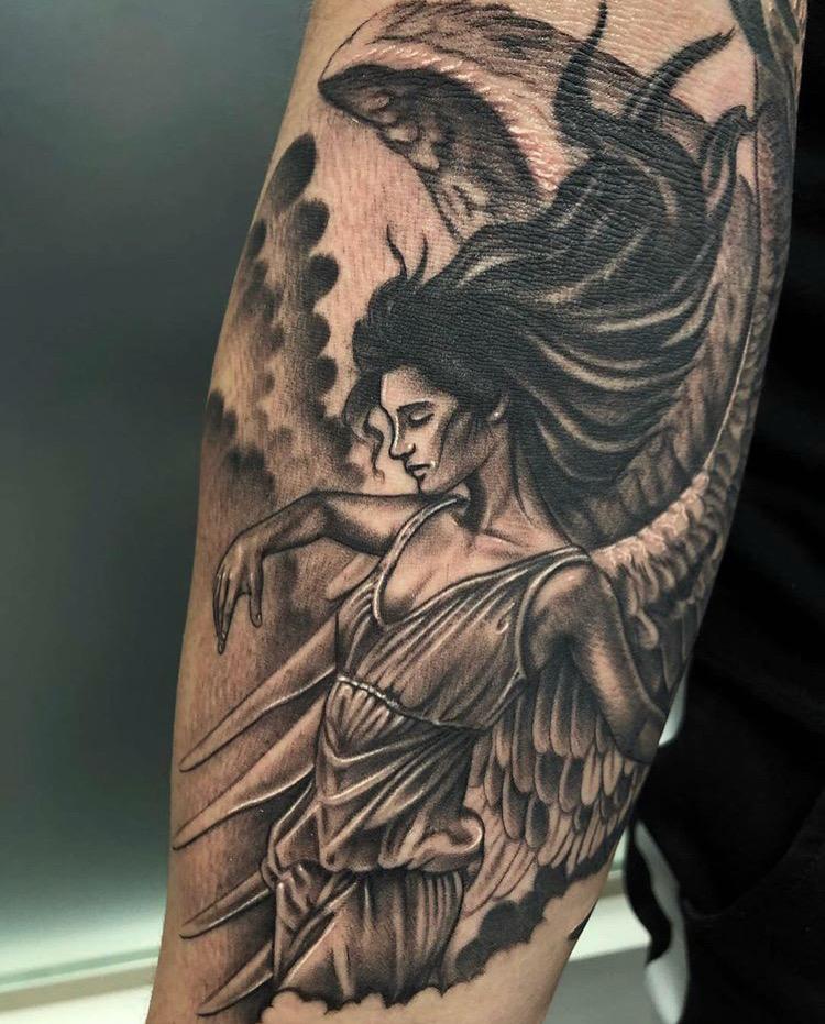 Custom Black and Grey Angel Tattoo by Ramon Marquez at Certified Tattoo Studios Denver Co.JPG