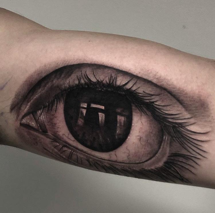 Custom Black and Grey Eye Tattoo by Ramon Marquez at Certified Tattoo Studios Denver CO.JPG
