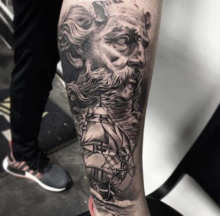 Custom Black and Grey Poseidon Portrait Tattoo by Ramon  at Certified Tattoo Studios Denver Co.jpg