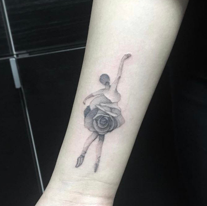 Custom Black Stipple Ballerina and Rose Tattoo by BJ at Certified TAttoo Studios Denver Co.jpg