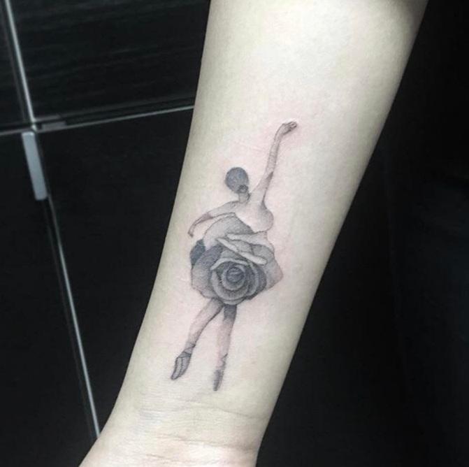 Custom Black Stipple Ballerina and Rose Tattoo by BJ at Certified TAttoo Studios Denver Co.jpg