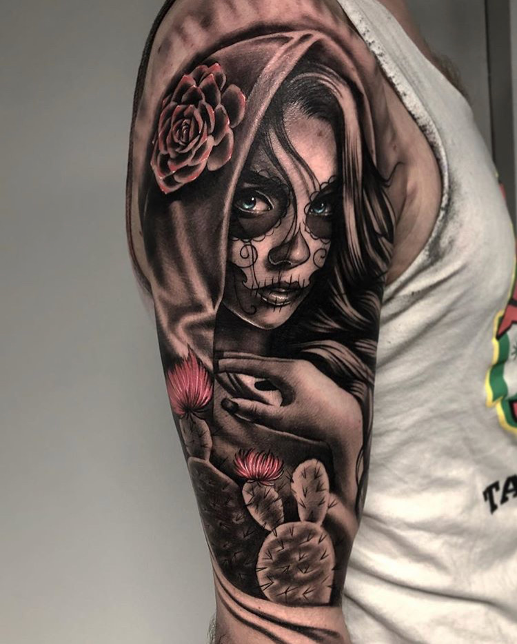 Custom Black and Grey Day of the Dead Woman with Cactus Tattoo by Bryan Alfaro at Certified Tattoo Studios Denver CO  (7).JPG
