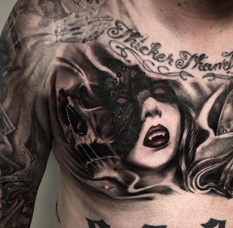 Custom Black and Grey Vampire Woman and Skull Tattoo by Bryan Alfaro at Certified Tattoo Studios Denver CO  (2).JPG