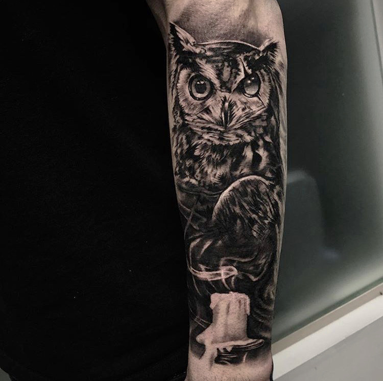 Custom Black and Grey Owl with Glass Eye and Melting Candle Tattoo by Bryan Alfaro at Certified Tattoo Studios Denver CO  (5).JPG