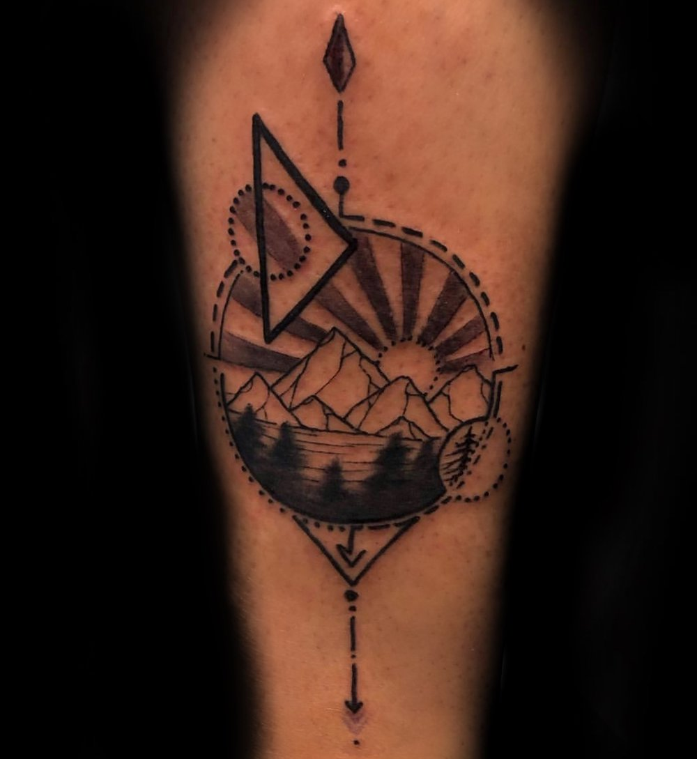 Black and Grey Geometric Colorado Mountains Tattoo by Jeremiah at Certified Tattoo Studios Denver CO.JPG