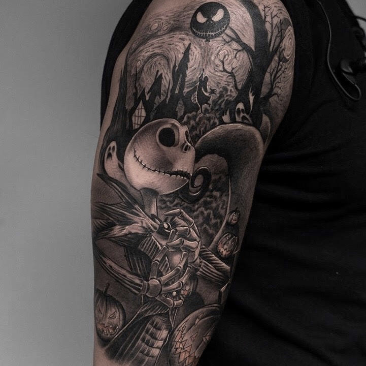 Custom Black and Grey Nightmare Before Christmas Tattoo by Ramon Marquez at Certified Tattoo Studios Denver CO.jpg