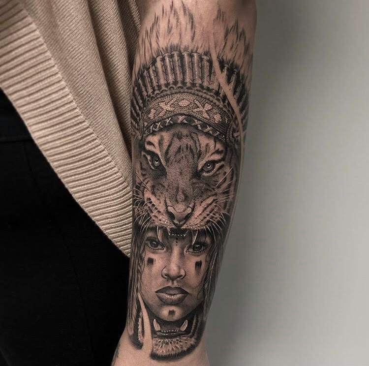 Custom Black and Grey Aztec Warrior Tattoo by Ramon At Certified Tattoo Studios Denver Co.jpg
