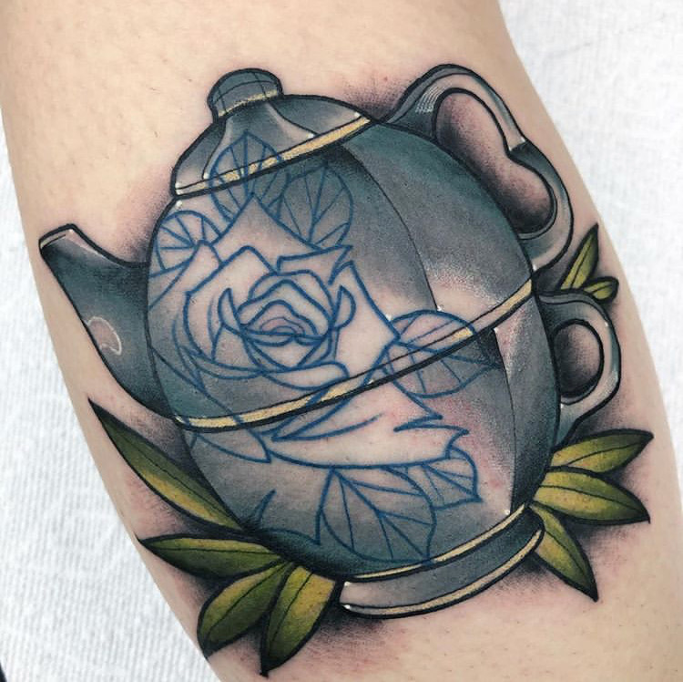 Custom Neo Traditional Full Color Tea Pot Tattoo by Alec Rowe at Certified Tattoo Studios Denver CO .JPG