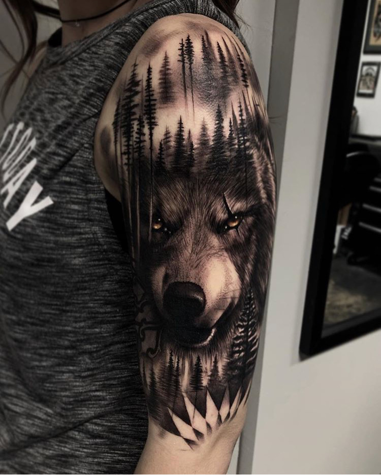 Custom Black and Grey Pine Trees and Wolf with Glowing Eyes Portrait Tattoo by Bryan Alfaro at Certified Tattoo Studios Denver CO (1).JPG