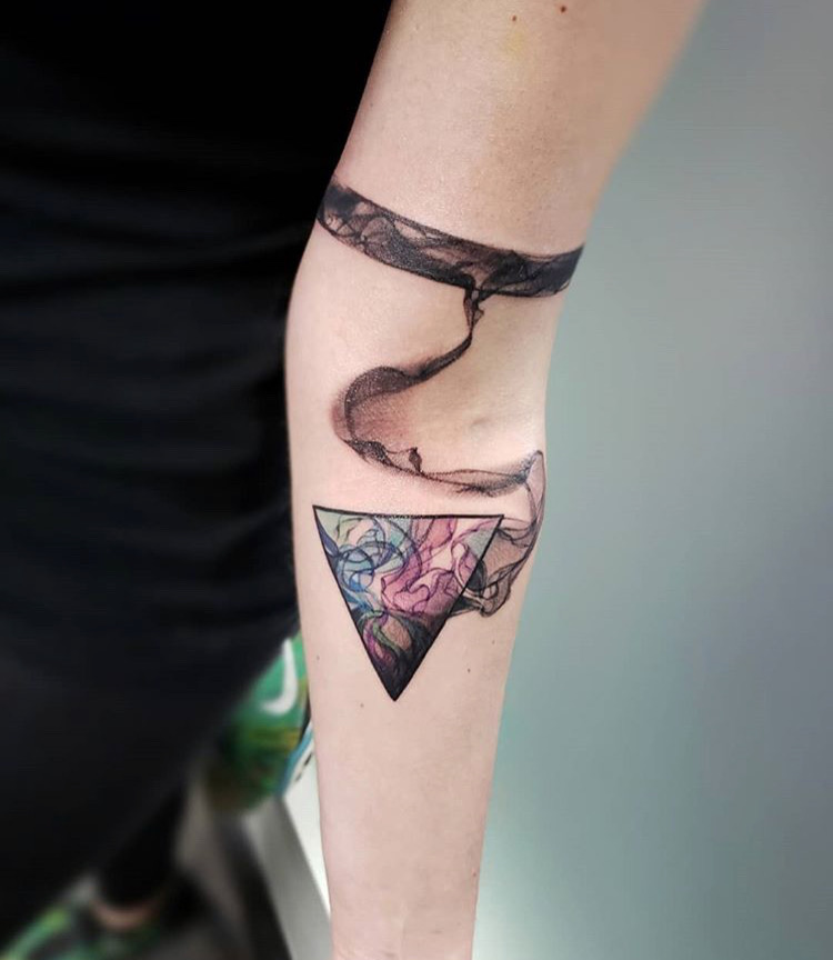 Custom Illustrative Water Color Triangle and Band Tattoo by David Perea at Certified Tattoo Studio Denver Co .JPG